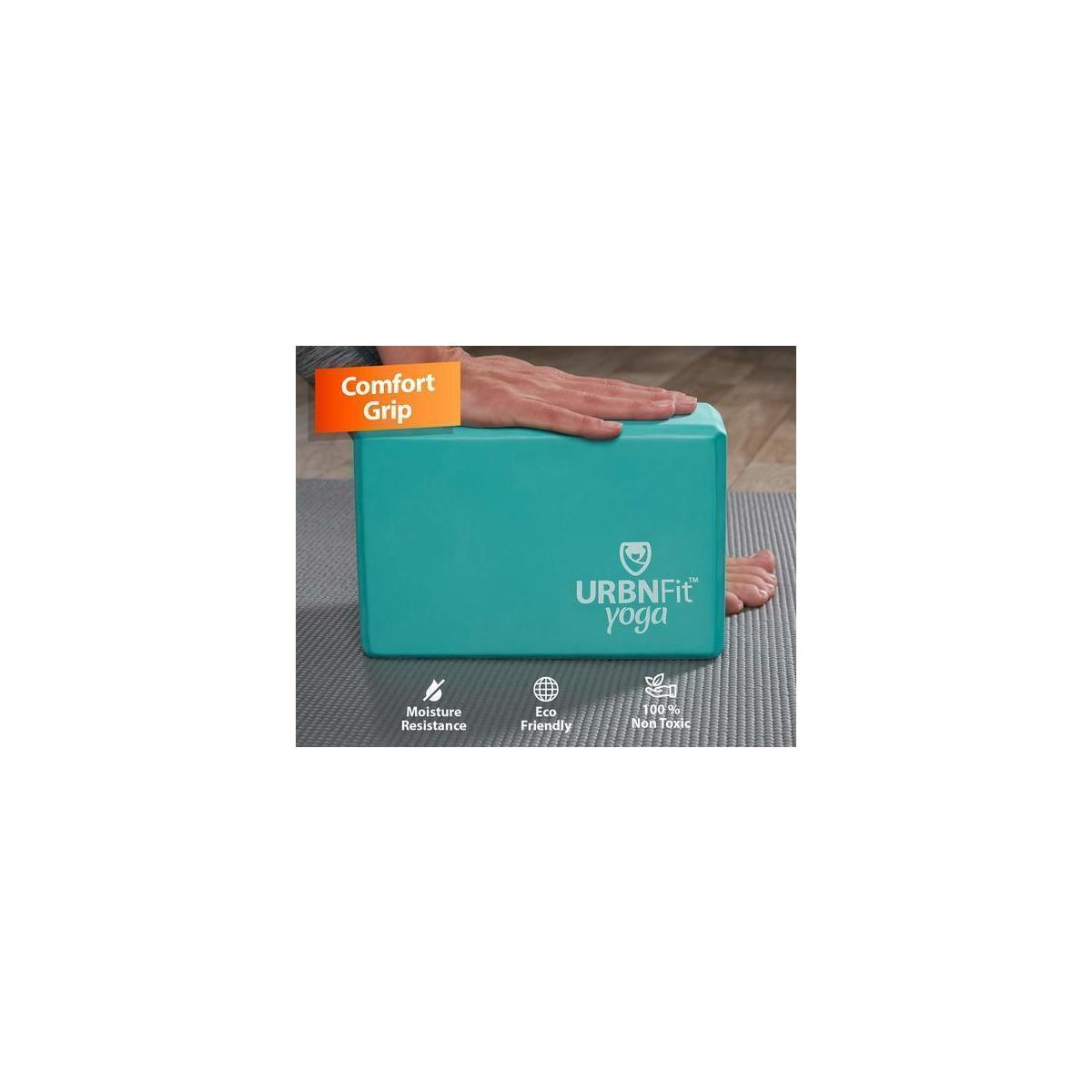 URBNFit Yoga Block - Moisture Resistant High Density EVA Foam and Cotton - Improve Balance and Flexibility Perfect for Gym or Home - Free PDF Workout Guide