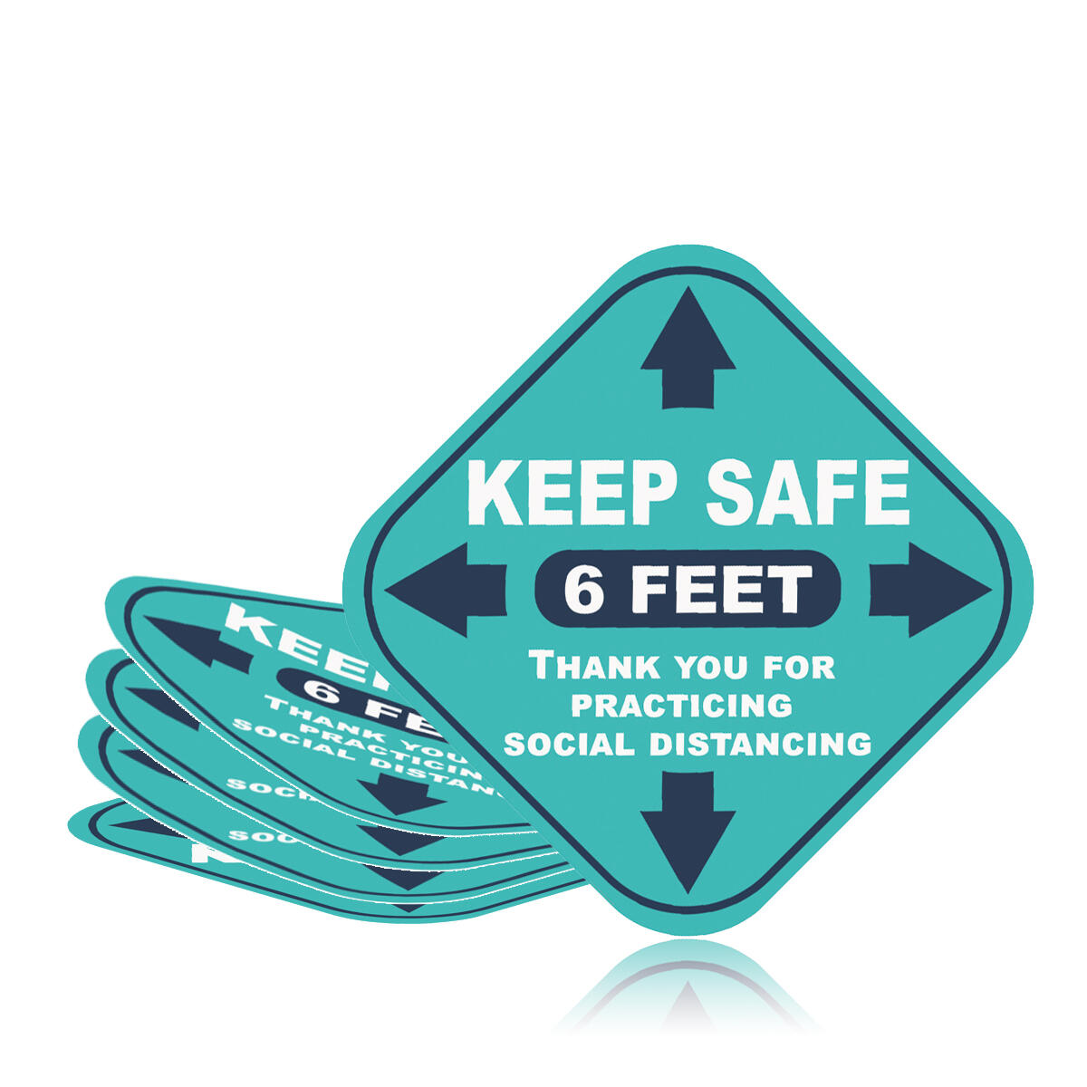 Social Distancing Floor Decals |5 Stickers Signs Crowd Control Safety 6 Feet Apart Signage Stand Here Please Maintain 6ft Distance Removable Vinyl Adhesive Tiles Markers