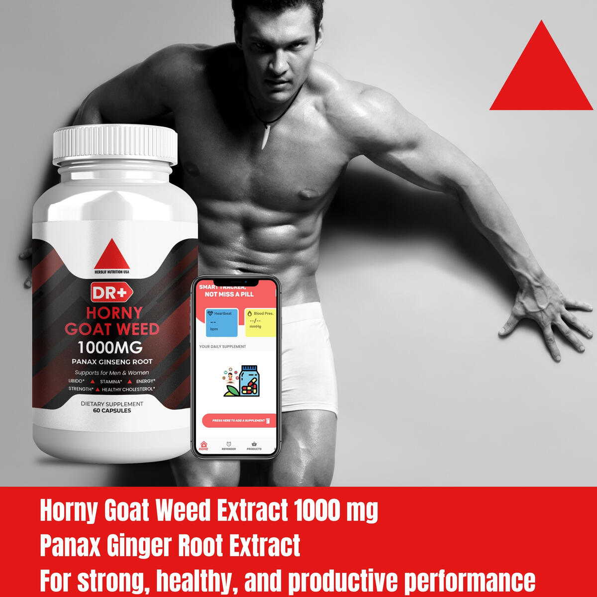 Horny Goat Weed Extract - Testosterone Booster for Men - Enhance Stamina Performance Libido with Epimedium, Maca, Tribulus Terrestris, L Arginine, and Ginseng