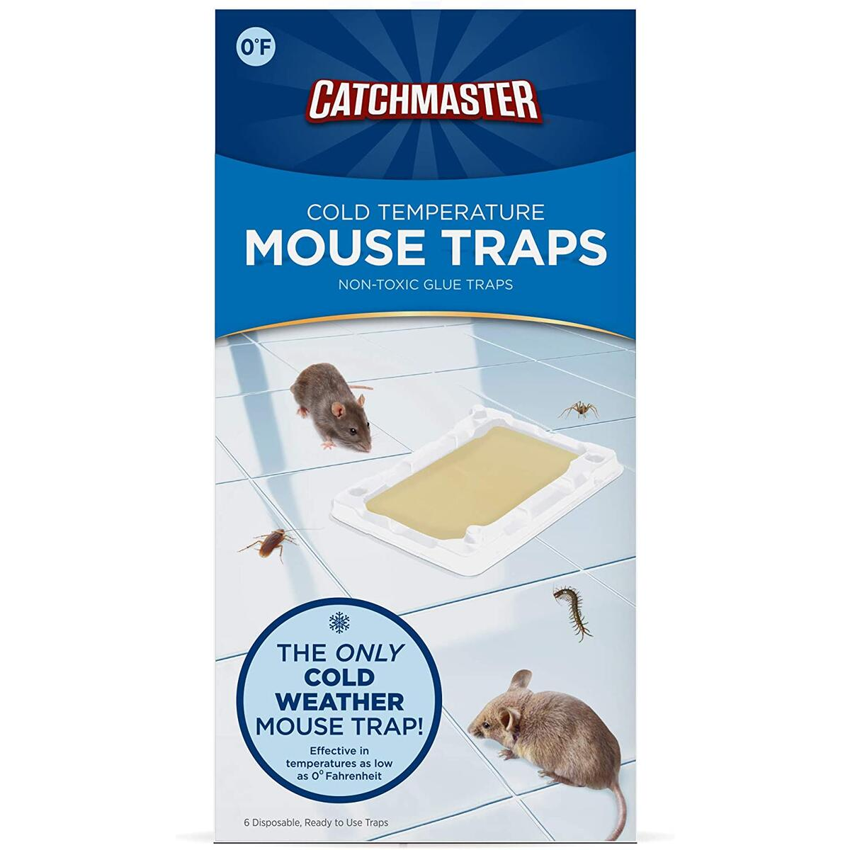 Catchmaster Cold Weather Mouse, Rodent & Insect Glue Trays - Mouse Traps - 6 Glue Trays  - ONLY COLD WEATHER GLUE MOUSE TRAP ON THE MARKET