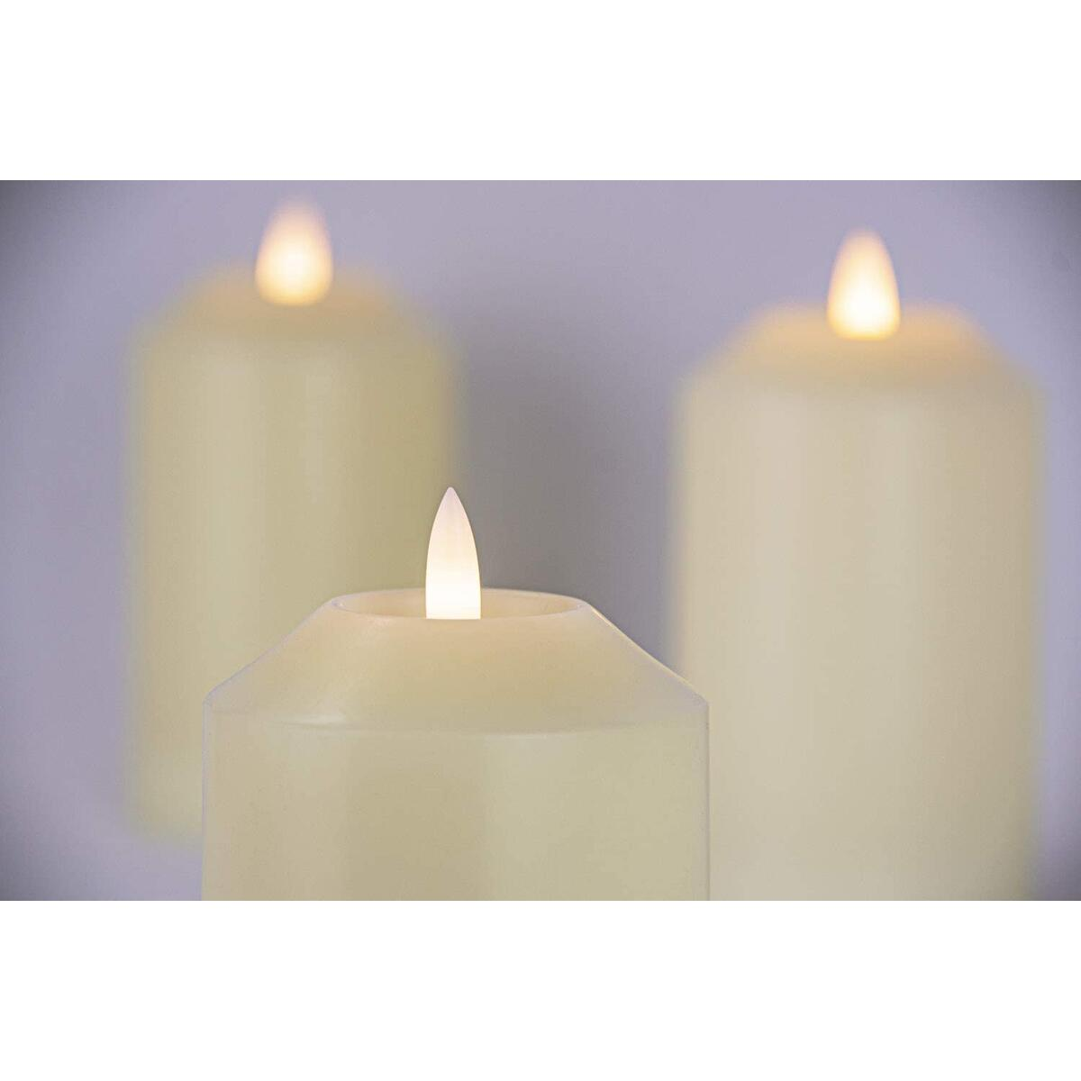 Flickering Vanilla Scented LED Candles with Timer (8 Hour). Set of 3 Ivory Night Light Pillar Candles.