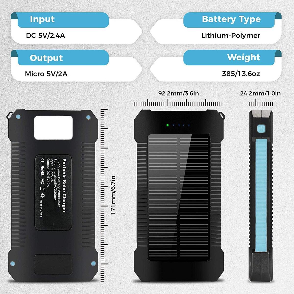 Solar Power Bank 20000mAh Portable Phone Charger Waterproof Battery Packs with Dual Ports