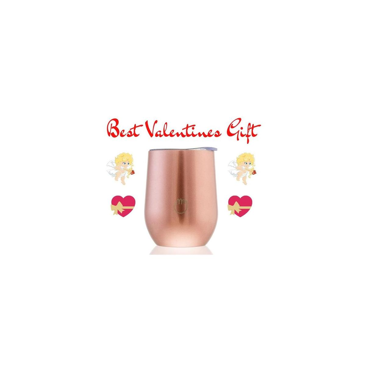 12 Oz Stainless Steel Tumbler| Valentines day | insulated | Leak-Proof Silicon Lid | Zero-Waste | Eco-Friendly | Double Metal Wall | Easy Traveling | Stemless Wine Glass | Tea Coffee Tumbler | gift | Black Tumbler