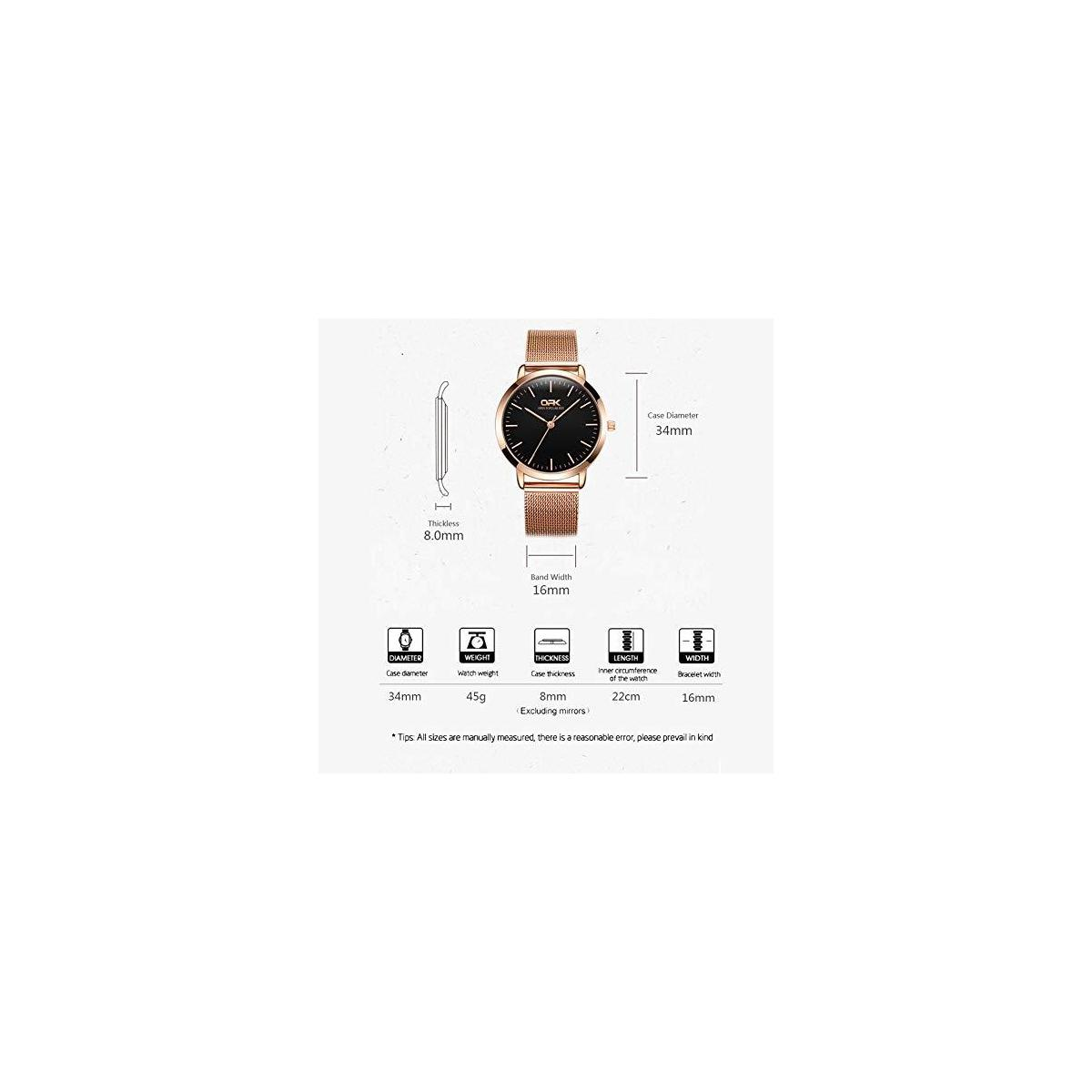 OPK Women's Bracelet Watch Black Dial