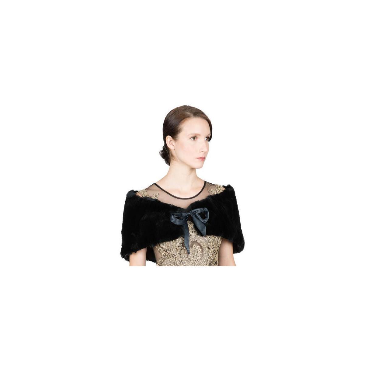 Women's Real Rex Rabbit Fur Stole with Ribbon Tie Closure - Black