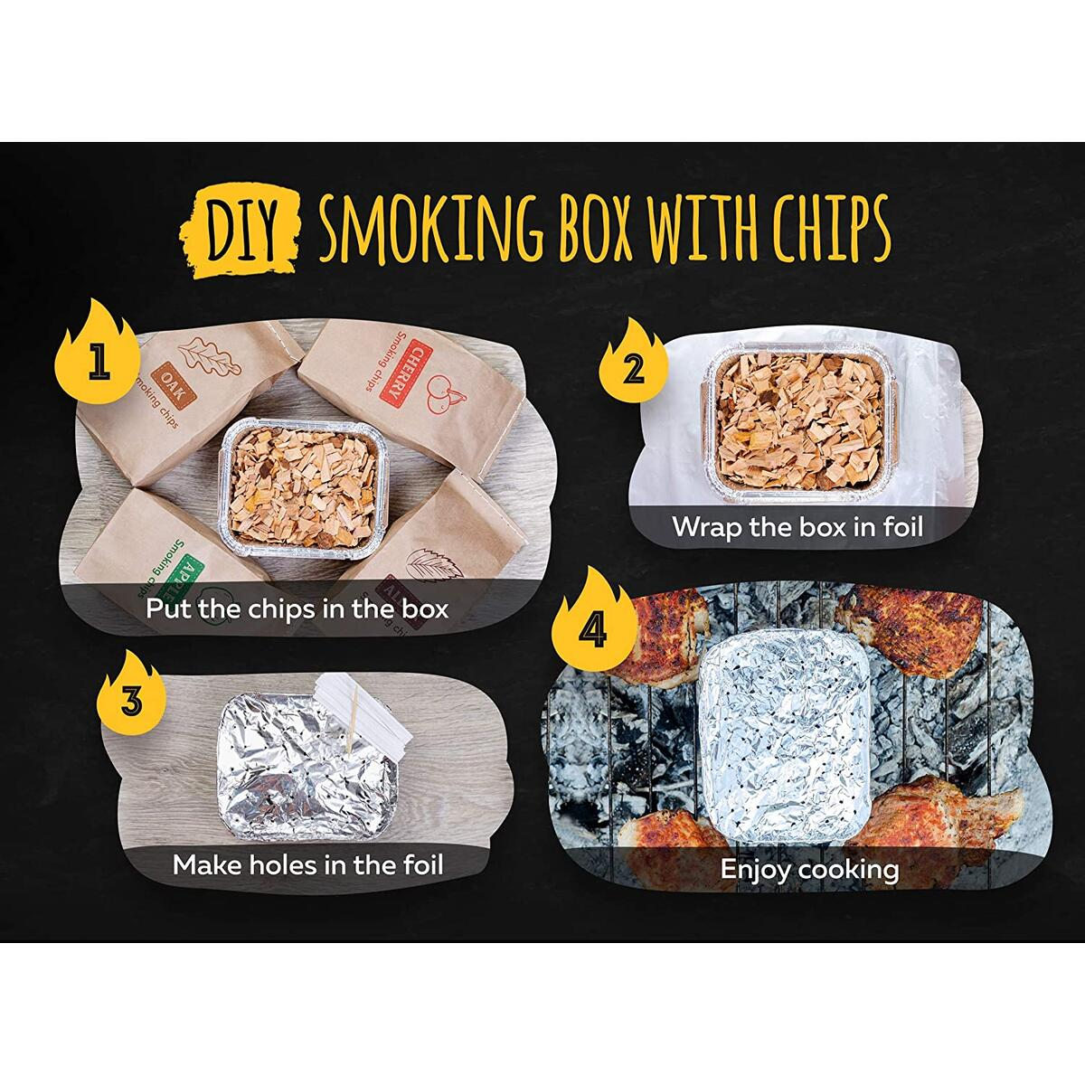 Grill Cooking Set for Smoking: Wood Chips Variety/Smoker Box/BBQ Tools