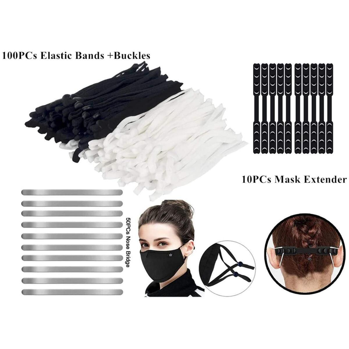 ARGIGU Mask Making Supplies Set, 100 Pieces Elastic Band Cord with Adjustable Buckles, 50 Pieces Nose Bridge Strips, Aluminum Metal Flat Wire Strip for Mask Making Accessories