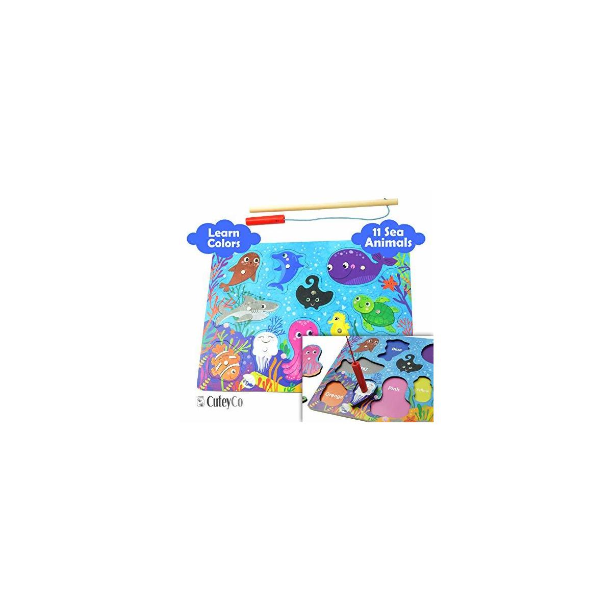 CuteyCo Magnetic Puzzle for Toddlers - Learn and Play Sea Animal Fishing Puzzle