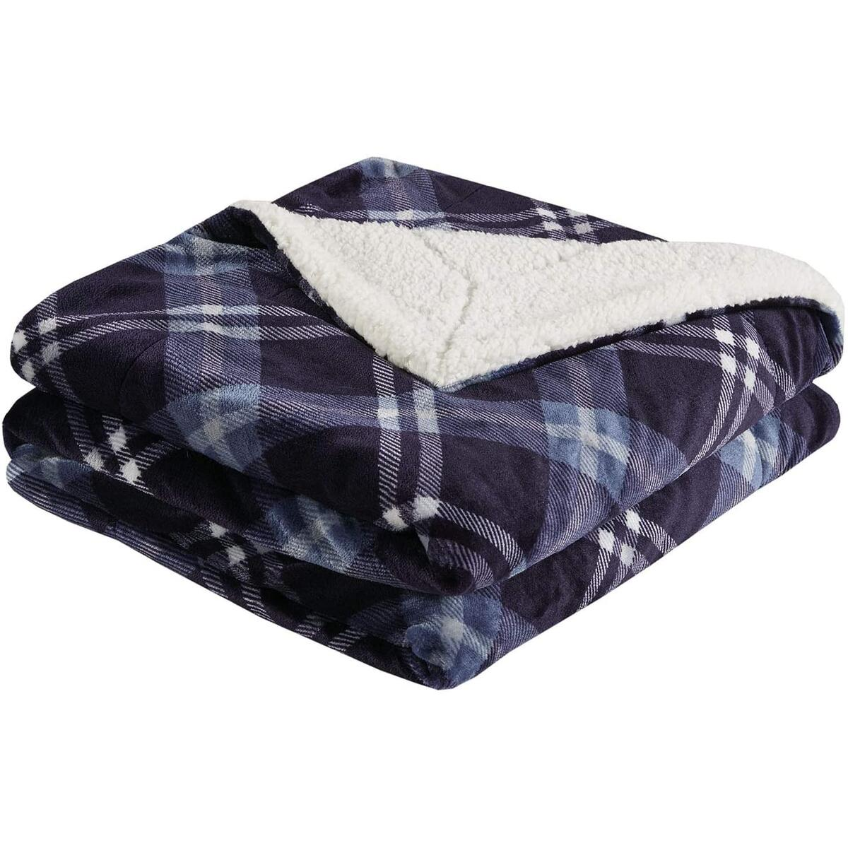 Soft Sherpa Fleece Throw Blanket Plaid Pattern, Cozy Plush Flannel Blanket for Sofa, Couch, Bed, Travel - 50x60 Inches, Blue Plaid