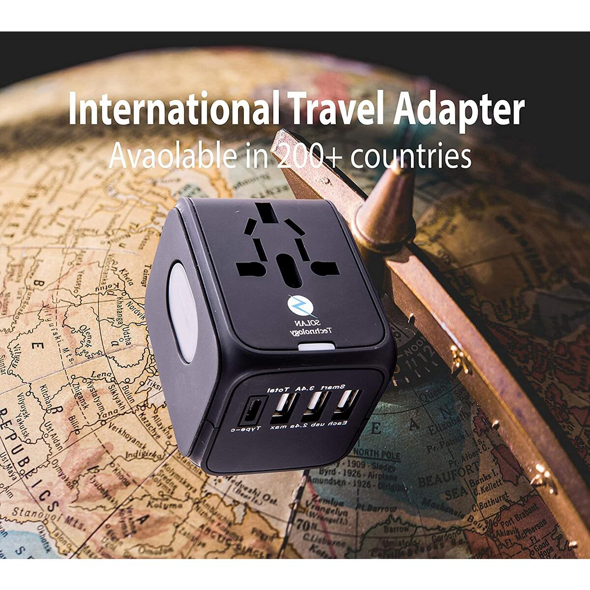 Universal Adapter with 3 USB 1 TYPE C Charging Ports for USA,UK,AUS and European Power Adapter,200 Countries
