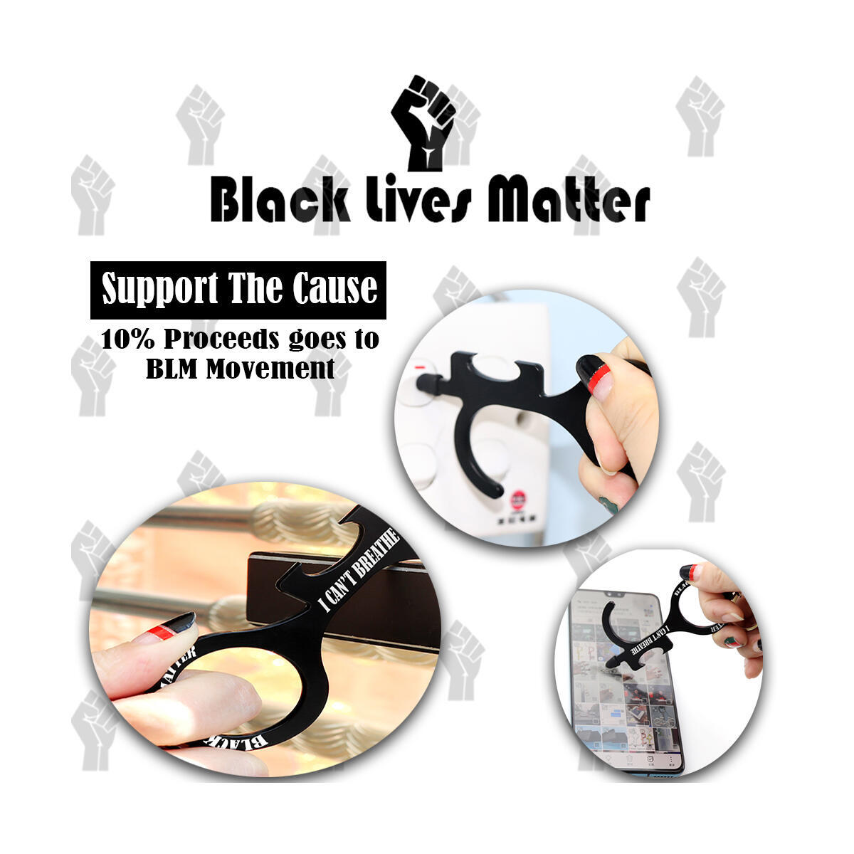 BLACK LIVES MATTER Anti Touch Contactless Door Opener, Handheld Tool Keychain for Door Handles, Elevator,Touch Screens, ATM, Bottle Opener. Key Tool to Stay Clean, Safe & Sanitized