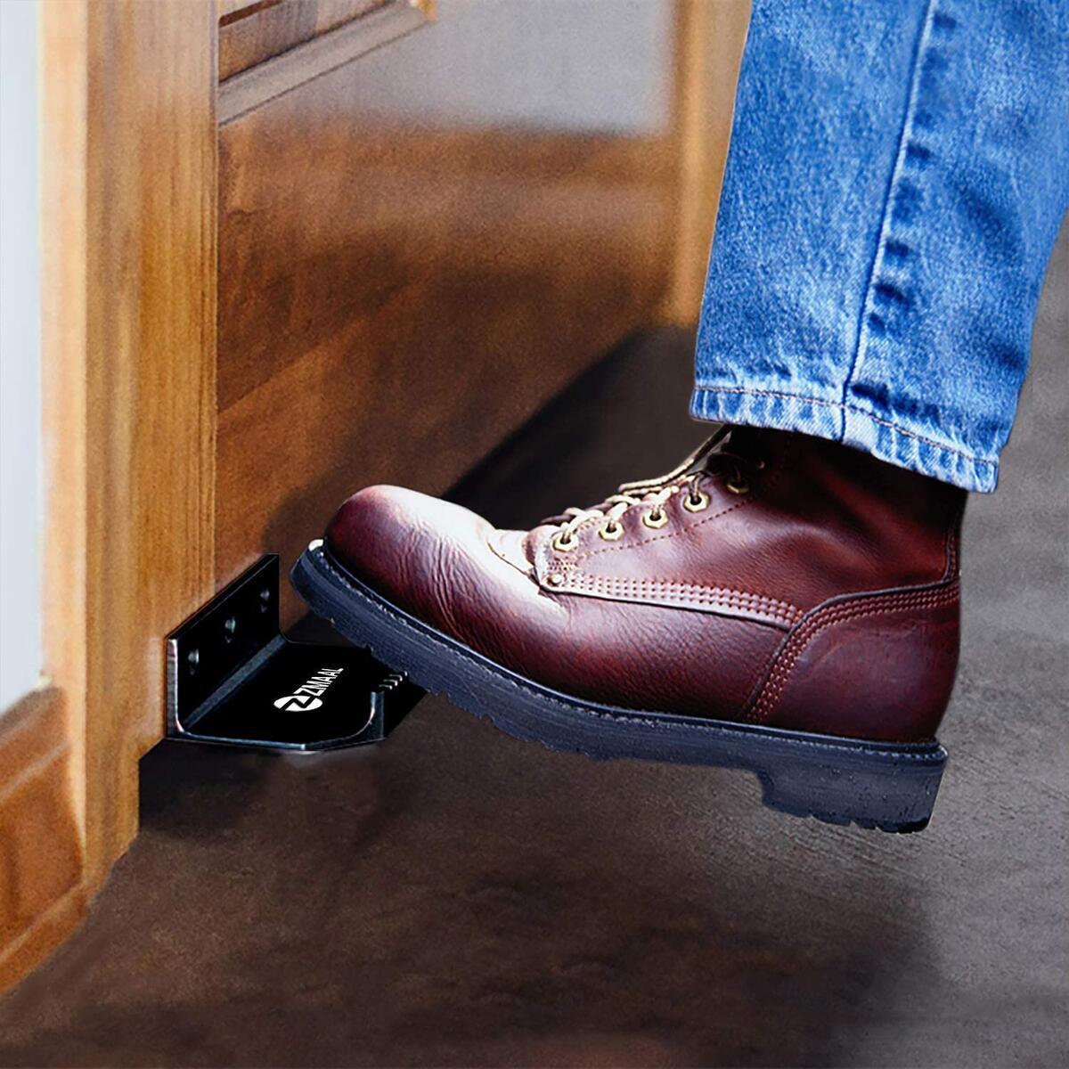 ZMAAL Hand Free Door Opener - touchless Foot or Toe Pull Opener for Drawer, Cabinet and Bathroom Doors (1, Black)