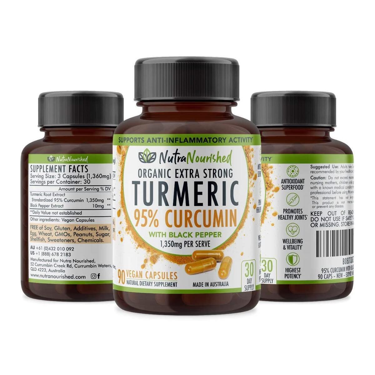 Turmeric 95% Curcumin Capsules with Black Pepper (1,350mg), Premium Arthritis Pain & Joint Supplement for Women & Men, 95% Standardised Curcumin Capsules