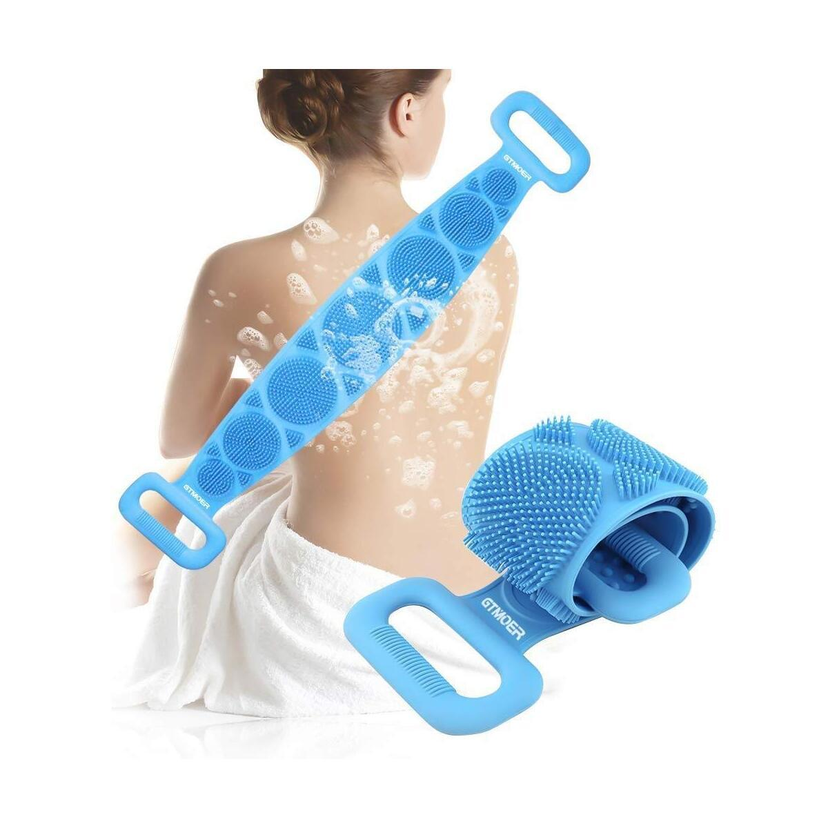 Silicone Body Scrubber Bath Shower Towel,Back Cleaning Shower Strap,Silicone Body Brush, Body Wash Silicone Scrubber Belt for Men Women, Easy to CleanSilicone Body shower Scrub