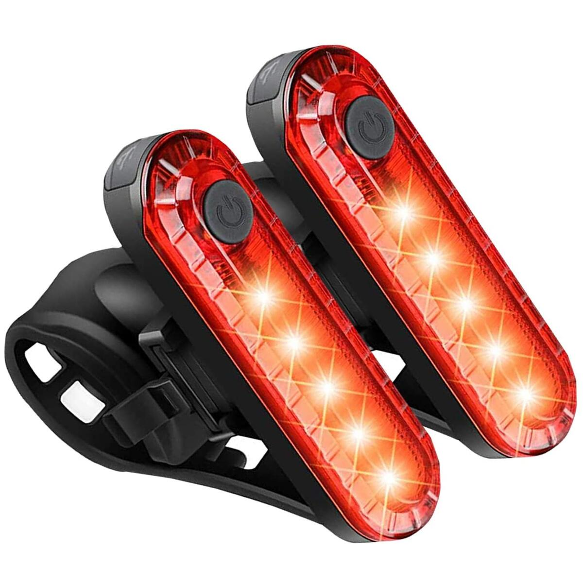 Apremont Ultra Bright USB Rechargeable Led Red Rear Bicycle Tail Light - 2 Set taillights for Night Riding - Safety Flashlight for Bike, Mountain Cycling - Mount on Road Helmet & Scooter