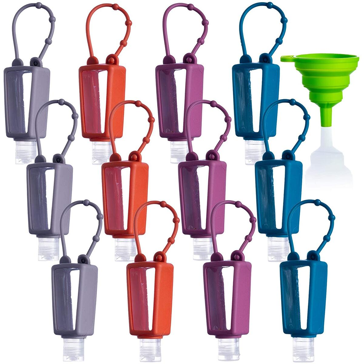 12 PACK Mixed EMPTY Refillable Mini Travel Hand Sanitizer Holder Keychain Squeeze Bottles (30mL 1fl oz)