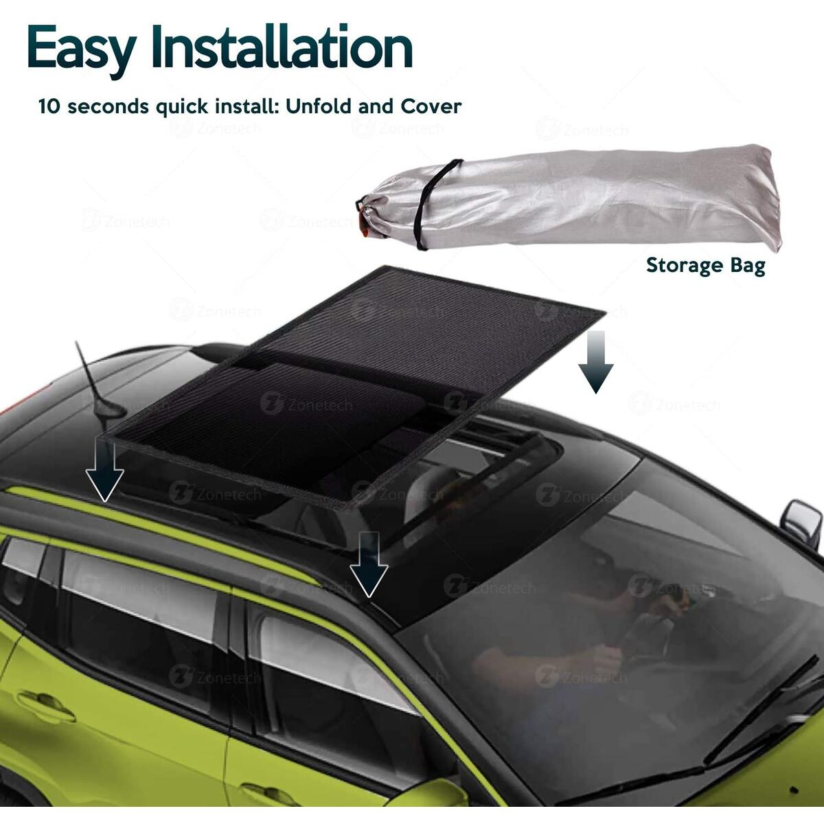 Zone Tech Car Mesh Sun Roof Magnetic Sun Shade - Premium Quality, Foldable, Cool Sun and Mosquito Blocking Breathable Mesh Sun Shade Blocks UV Sun by Parking Trips Great Protection, Easy Installation