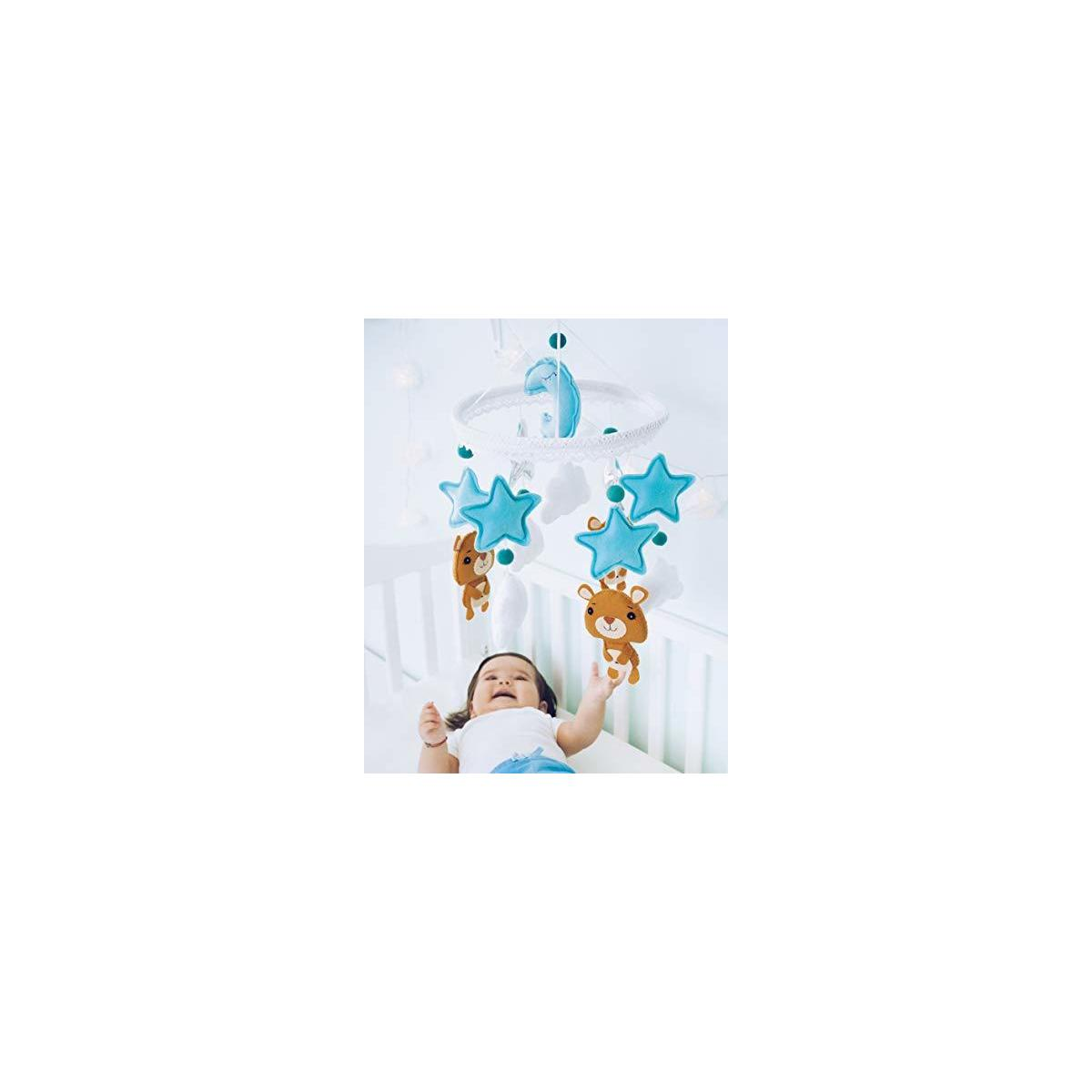 Baby Mobile Felt Nursery Crib Mobile Handmade Baby Shower Gift for Boys Color: Blue