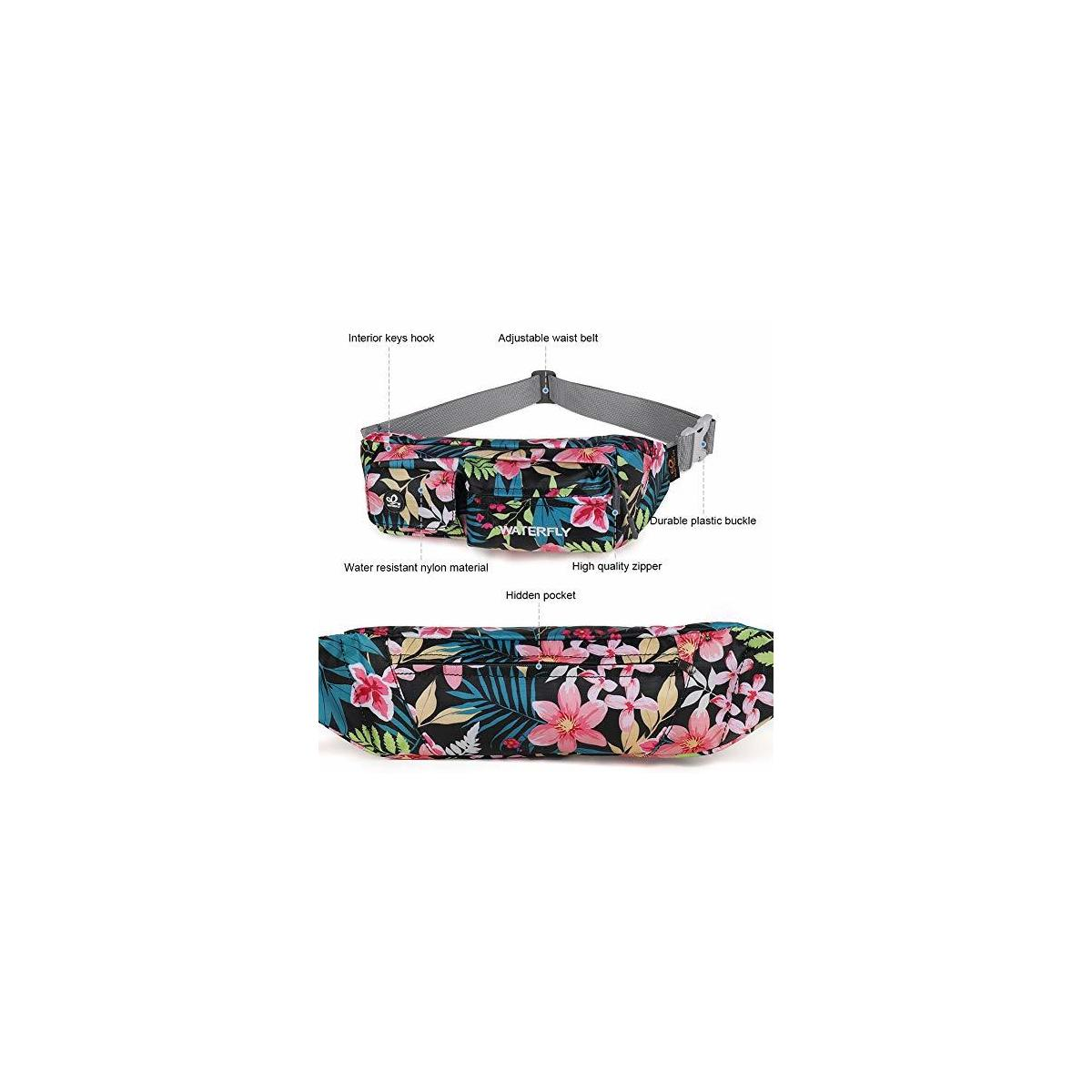 Waterfly Fanny Pack Slim Soft Polyester Water Resistant Waist Bag Pack for Man Women Carrying iPhone 8 Samsung S6 (ANY fanny pack color)