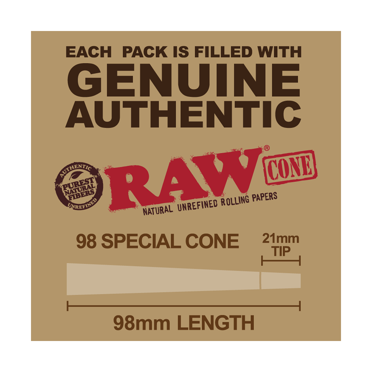Raw Cones - Classic 98 Special - 51 Count of Raw Pre Rolled Rolling Papers with Filter Tip