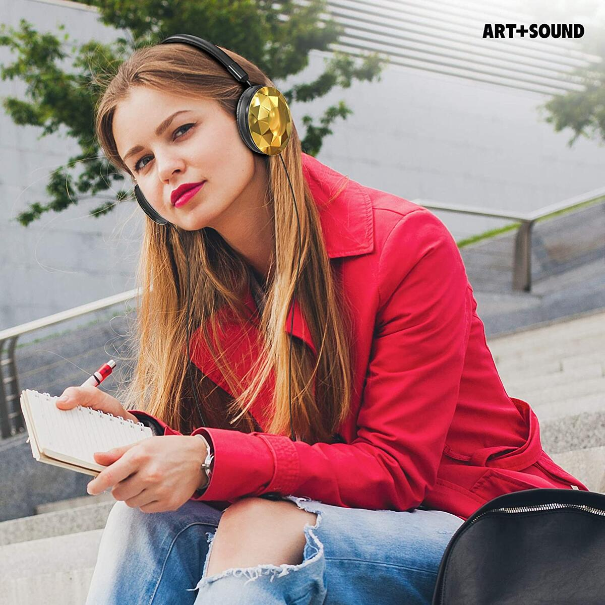 Wired Headphones by ART+SOUND, Faceted Design with Adjustable Band, Soft Cushion Pads, Foldable Design - Gold & Iridescent 2-Pack