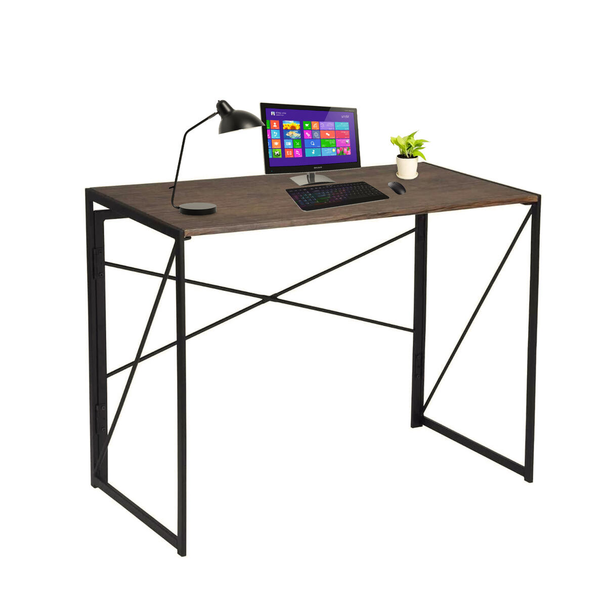 ASAR Working Desk Foldable Design Brown Wood Metallic Frame for Home Office Study Room, Gaming Desk for Writing and Working Spaces