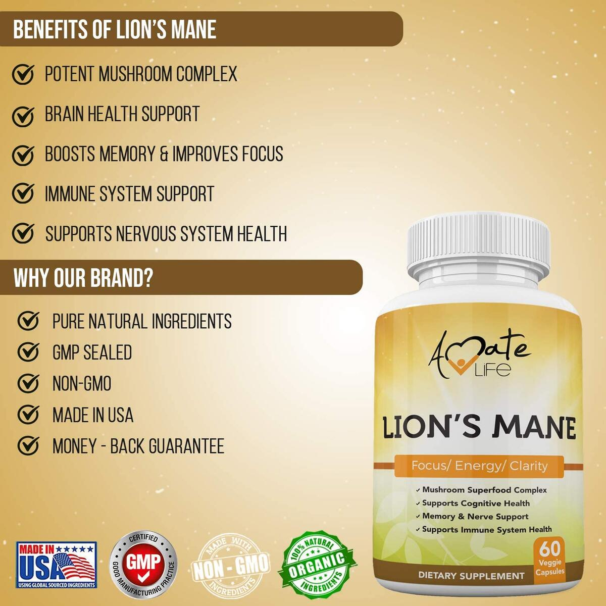 Lions Mane Mushroom Supplement Capsules Powerful Nootropic Mushroom Supplement for Focus, Mental Clarity, Memory, Brain Health & Immune Support 60 Vegetable Capsules Made in USA by Amate Life