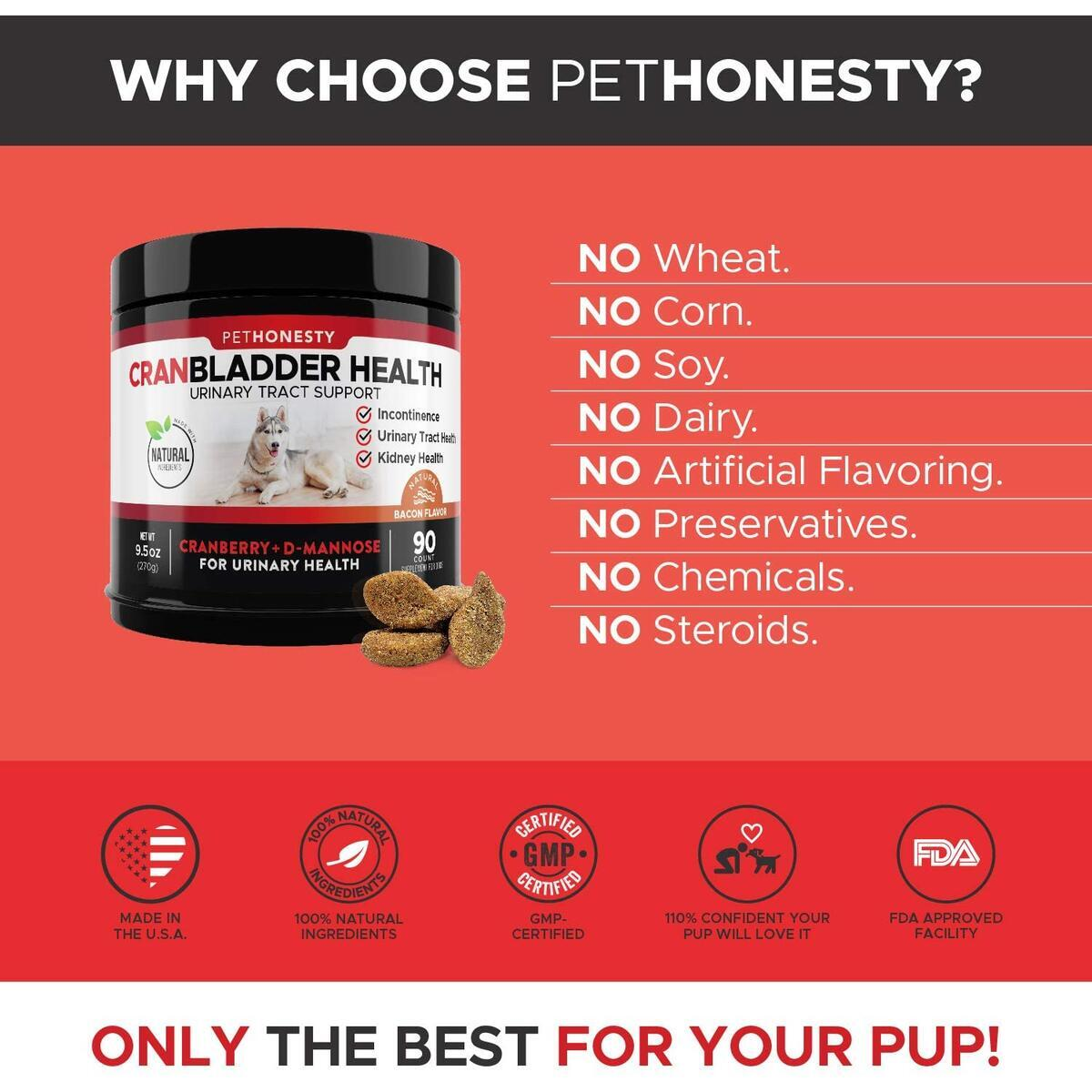 PetHonesty Cranberry for Dogs - Bladder Support - Dog UTI Treatment Food - Bladder Infection Relief Urinary Tract Health UT Incontinence, Immune System D Mannose (Bacon)
