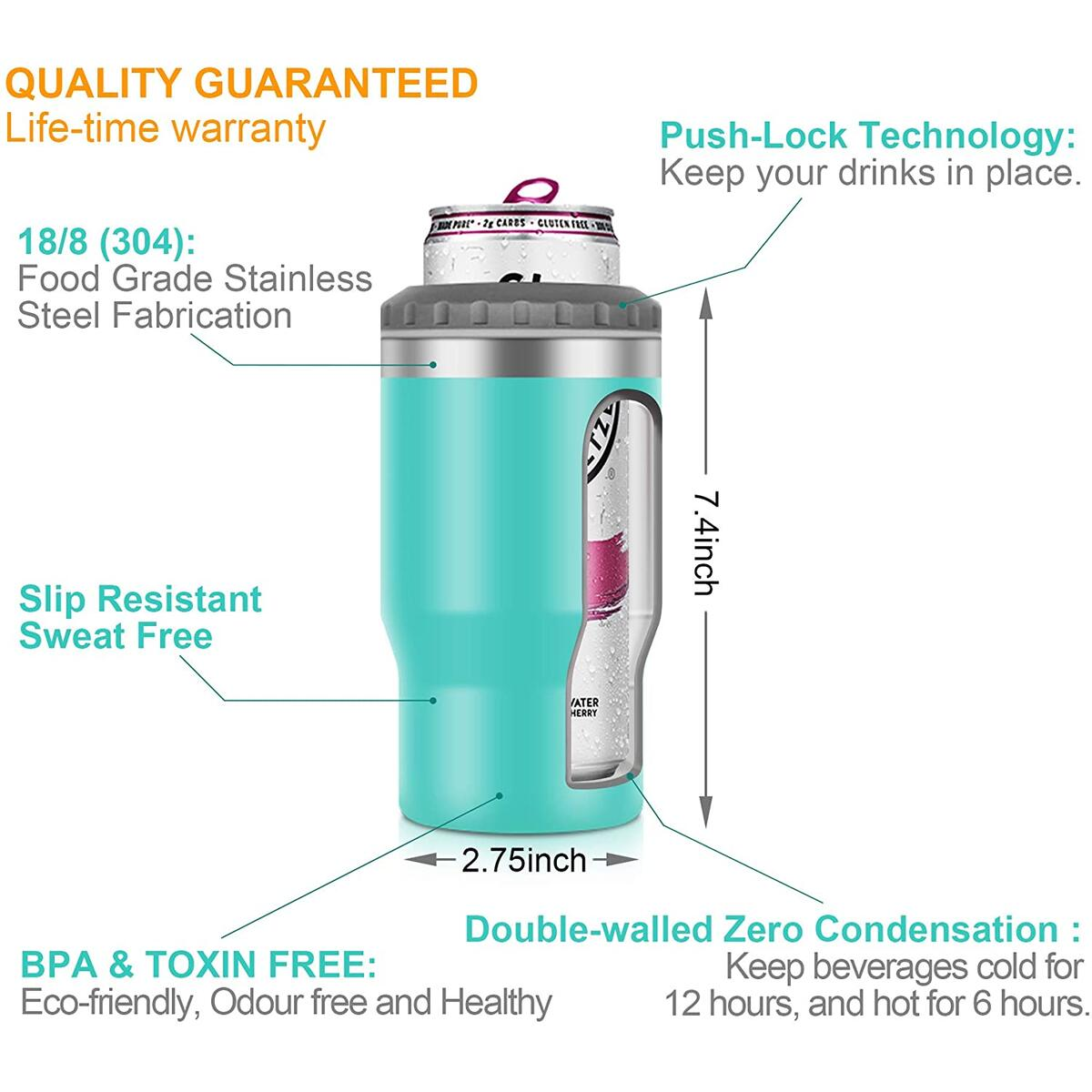 SENSIVO 4-in-1 Double Walled Vacuum Insulated Can Cooler, Skinny Can Coozie for All 12 OZ Bottled and Canned Drinks, Stainless Steel Tumbler, Birthday Gifts for Friends Female Women Men