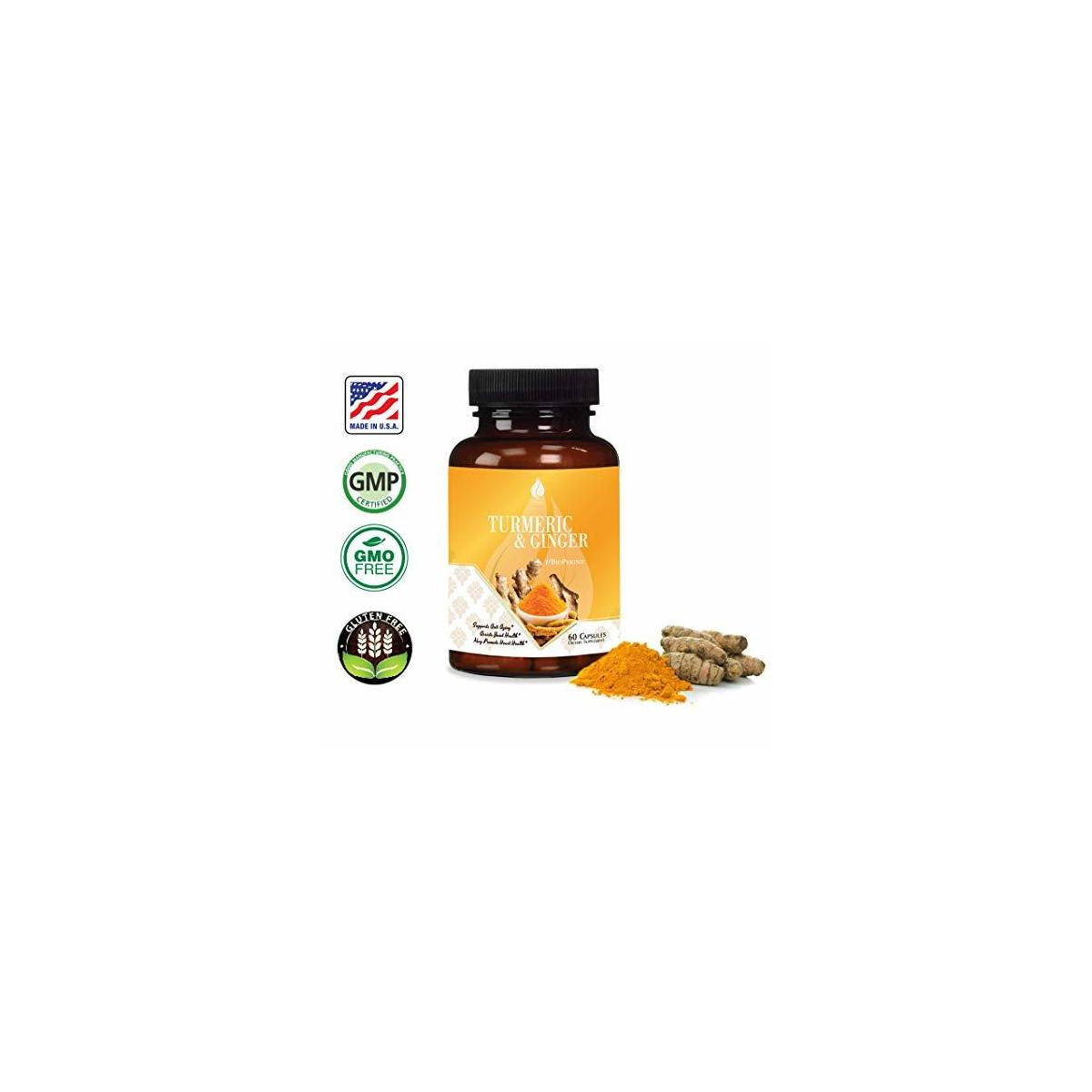 Turmeric Ginger with BioPerine 95% Curcuminoids Turmeric and Ginger Curcumin Supplement with Black Pepper Extract for Absorption. Supports Anti-inflammatory Response for Arthritis