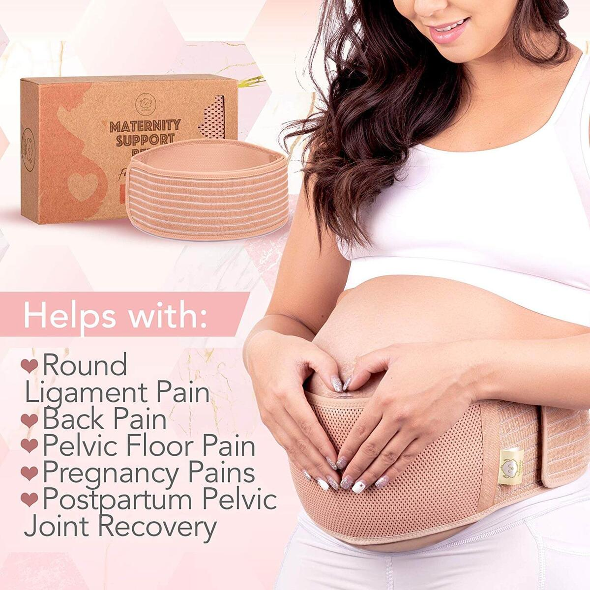 Maternity Belly Band for Pregnancy - Soft & Breathable Pregnancy Belly Support Belt - Pelvic Support Bands - Tummy Bandit Sling for Pants - Pregnancy Back Brace (Classic Ivory, One Size)