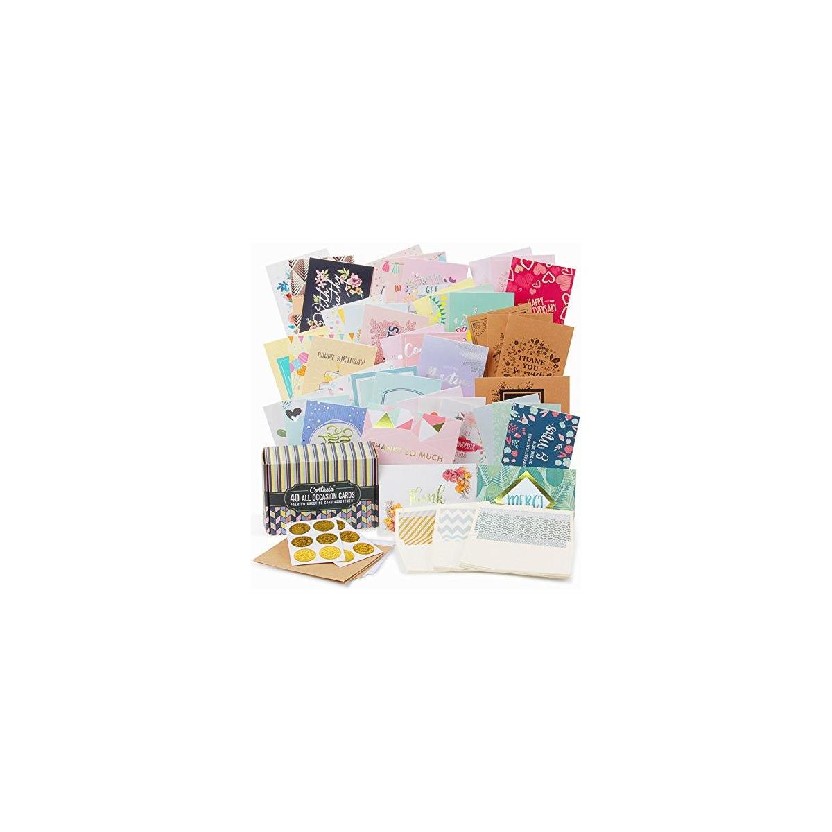 All Occasion Greeting Cards Assortment - 40 UNIQUE DESIGNS with GOLD and SILVER EMBELLISHMENTS, Box set incl. Natural Linen Color Envelopes with Printed Patterns and Kraft Paper Cards