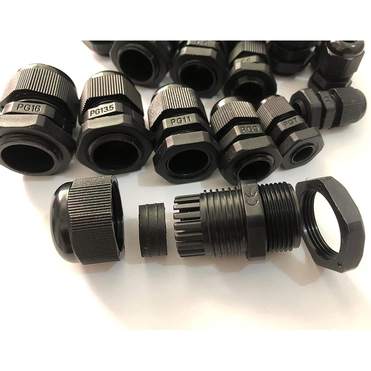 20pcs Cable Gland Waterproof Adjustable 3-13mm Cable Connectors PG7 PG9 PG11 PG13.5 PG16 Plastic Cable Gland Joints Wire Protectors