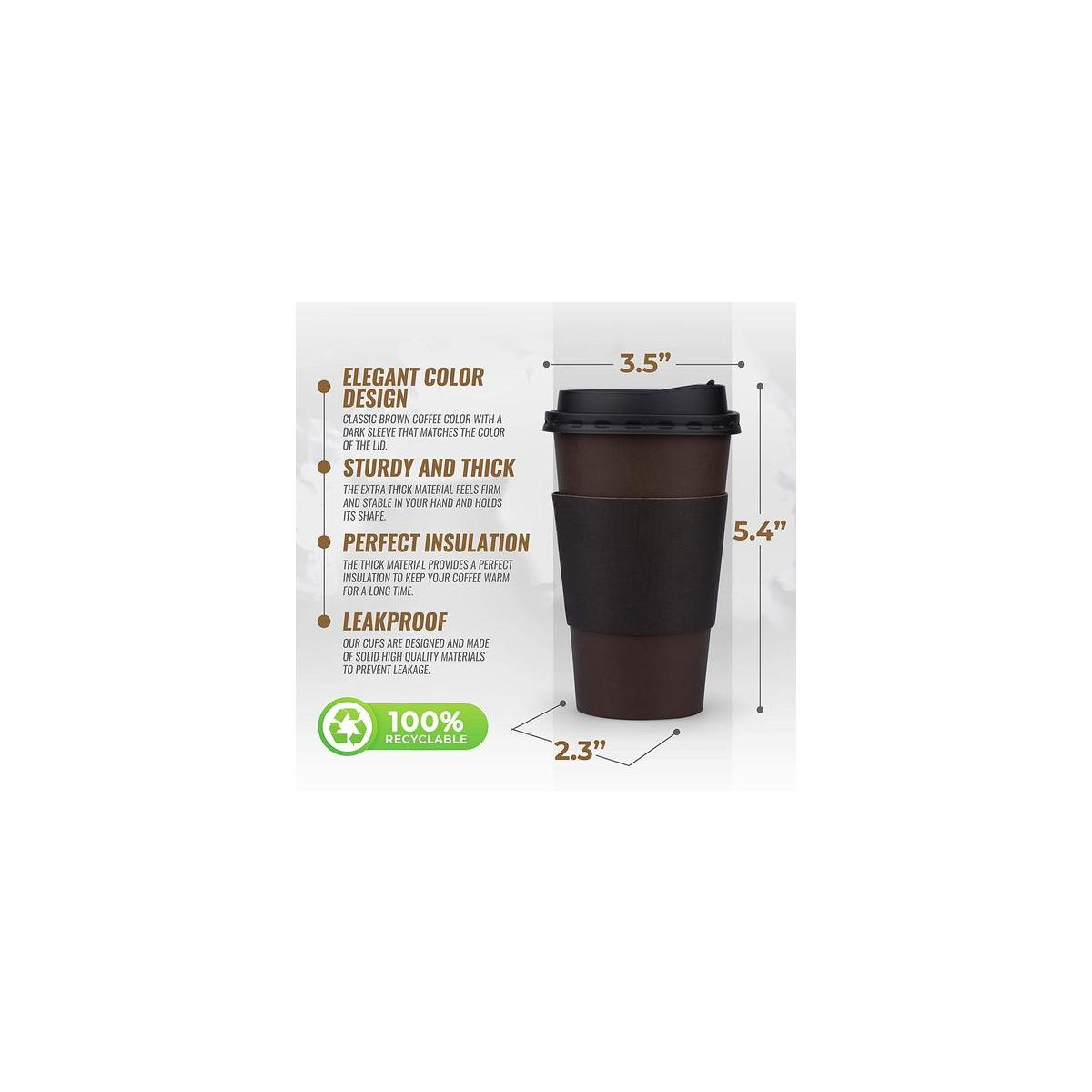 100 Pack Disposable Coffee Cups 16 oz  - Premium Quality 16 Oz Paper Coffee Cups with Lids to prevent leaks and Sleeves for comfortable Cup holding