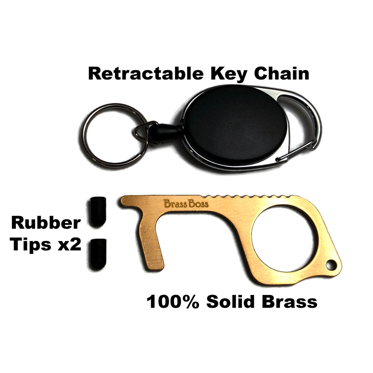 No Touch Door Opener - Brass, Contactless Hand Tool - Protective Safety Hook/Stylus for ATM, Elevator Buttons, Handles - With Retractable Carabiner Reel Clip Keychain, 2 Rubber Tips, Card - Brass Boss