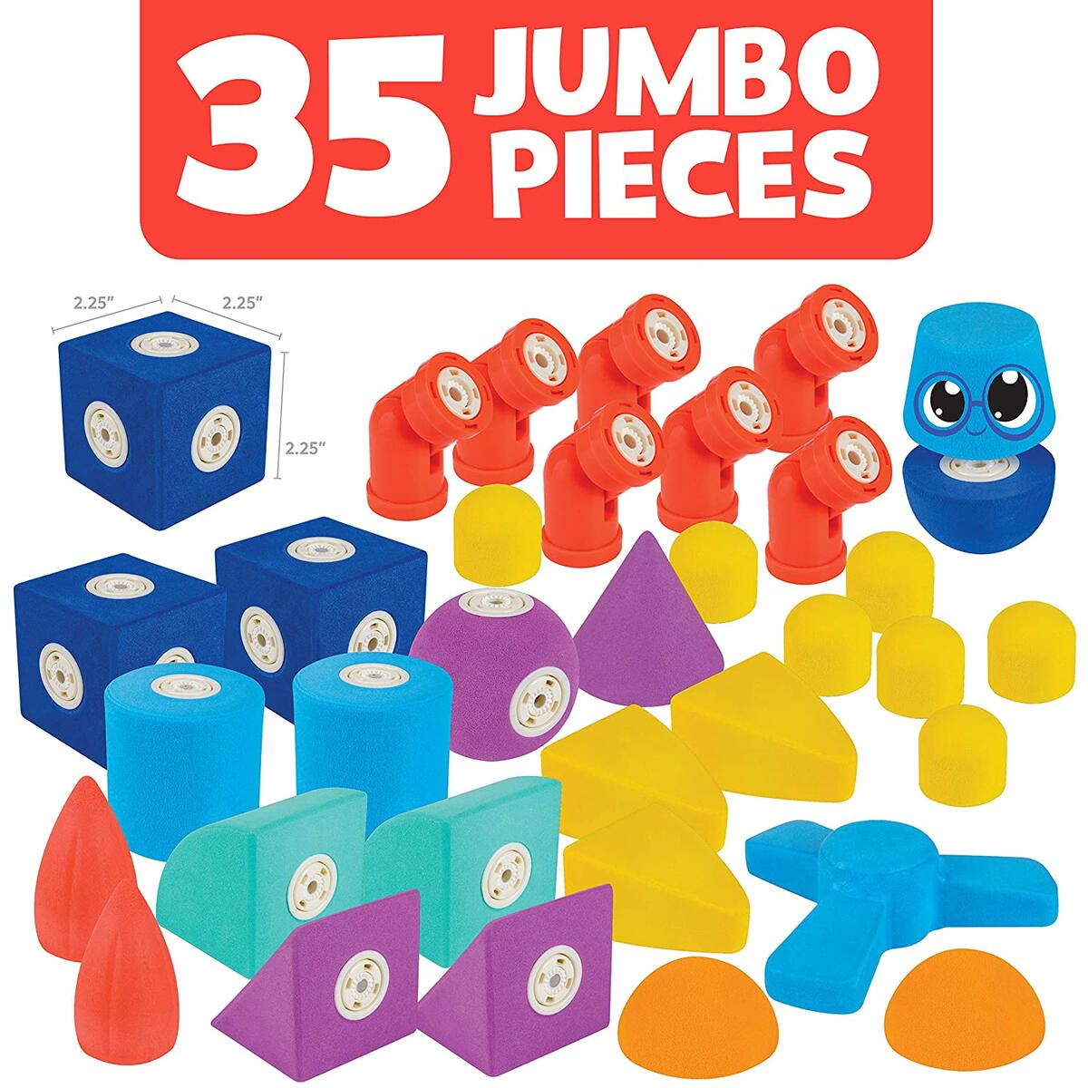 Blockaroo Magnetic Foam Building Blocks - STEM Construction Toys for Boys and Girls, Soft Foam Blocks Develop Early Learning Skills, the Ultimate Bath Toys for Toddlers & Kids - Windmill Set