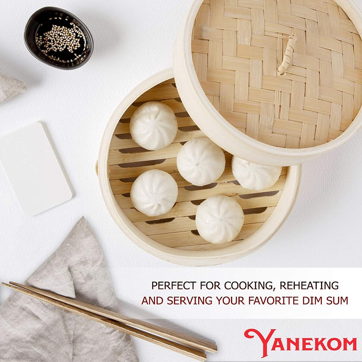 Yanekom Premium Bamboo Steamer Basket – 10 Inch Handmade Dim Sum Steamer for Cooking Dumplings, Meat, Fish, Rice & Vegetables - 2 Tiers Bun Steamer including Bamboo Chopsticks & Silicone Pads