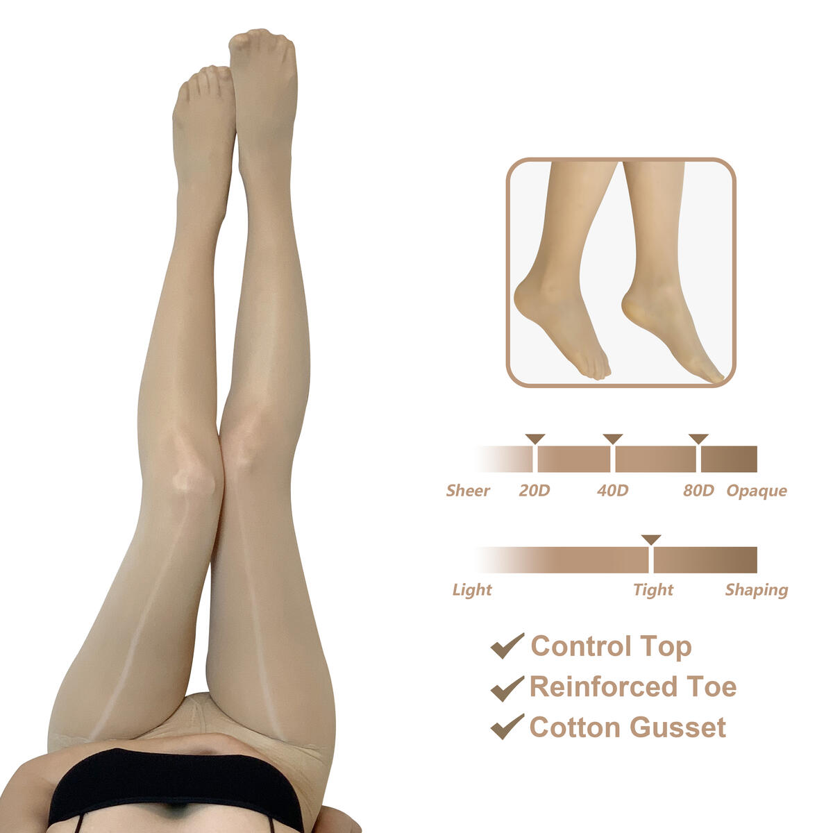 Tights for women Pantyhose Gift set Nylon Control Top Opaque Fashion Sheer Stocking Super Stretchy