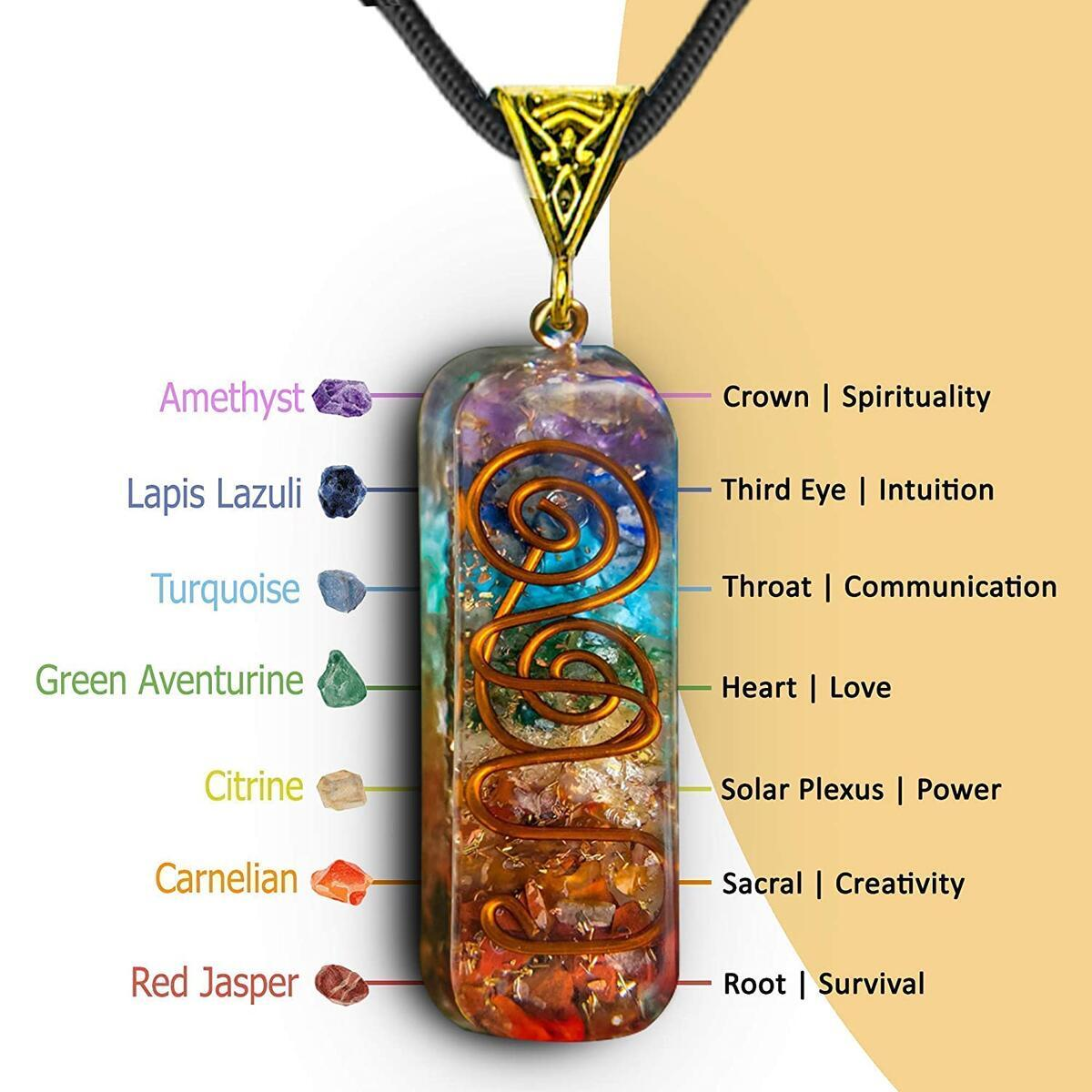 Seven Chakra Stones Energy Generator Handmade Healing Pendant Crystal Necklaces with Adjustable Cord for EMF Protection, Stress, Anxiety, Meditation, Spiritual Gift Jewelry