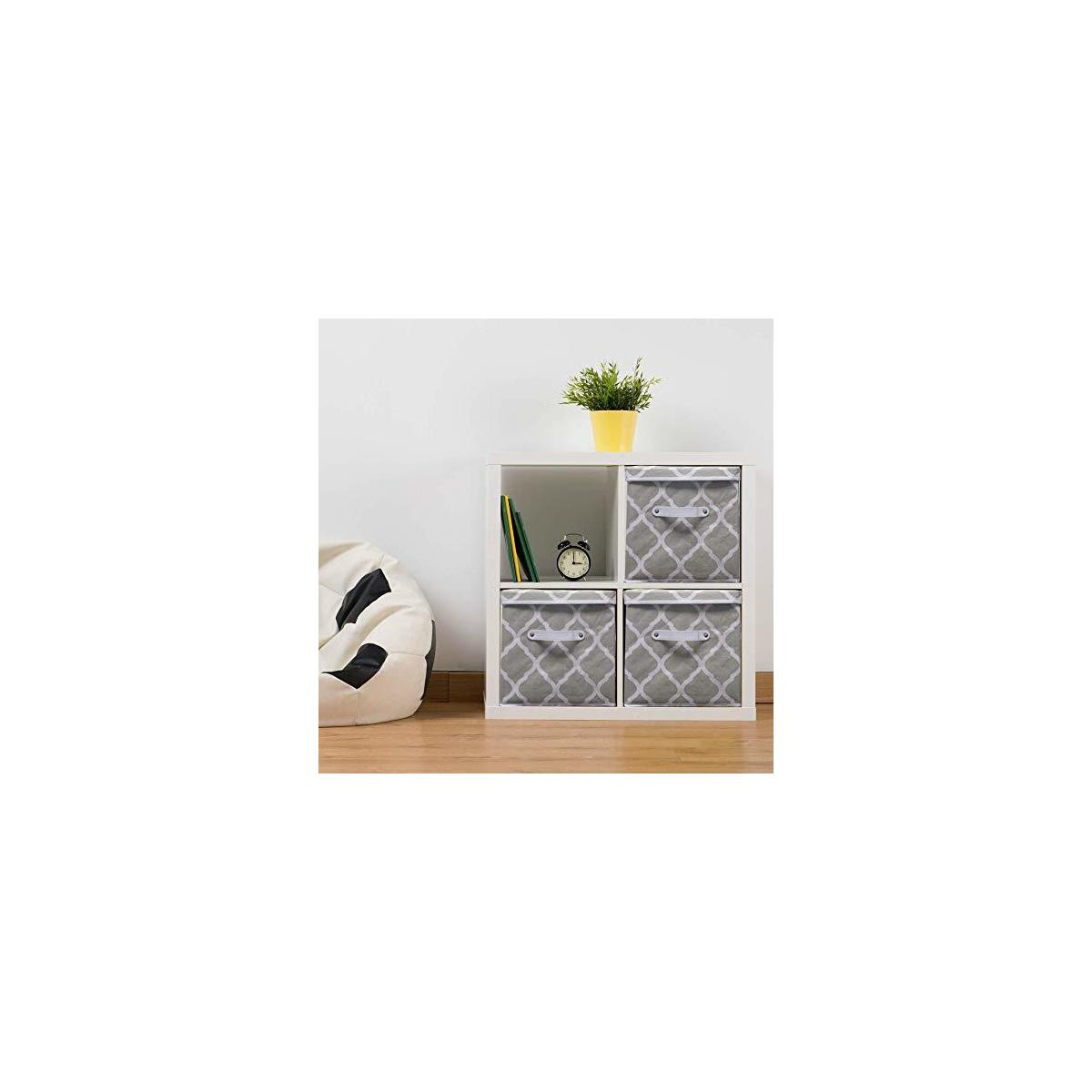 "3 Set Fabric Storage Bins -Removable Lids -Leather Handles -11x11x11"" - Collapsible/Stackable -Sage/White; USES: Storage Cube organizer, Book, Sports Toy box Clothes Baby Basket; Home, Nursery, Office"