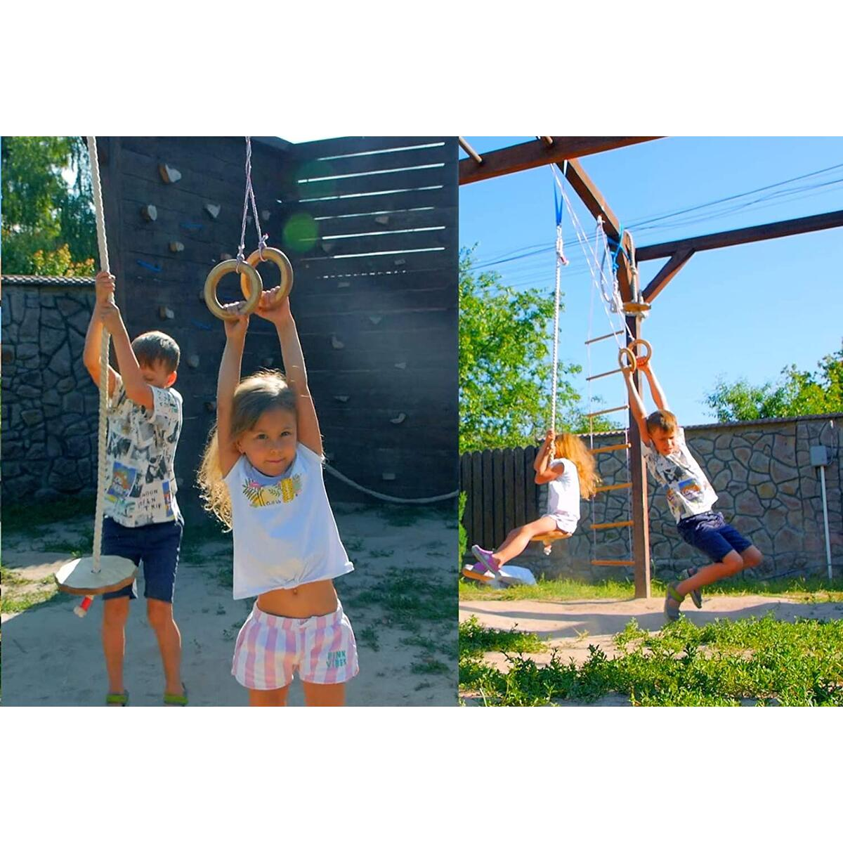 Kids Gym Wooden Rings
