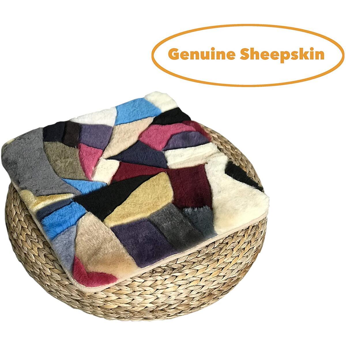 Genuine Australian Sheepskin Seat Pad, Thick Short Wool Sheepskin Car Seat Cover, Universal Fit Auto Seat Pad, Fuzzy Car Seat Cover, Fluffy Wool Seat Cushion, Soft Warm Winter Sheepskin Seat Cushion