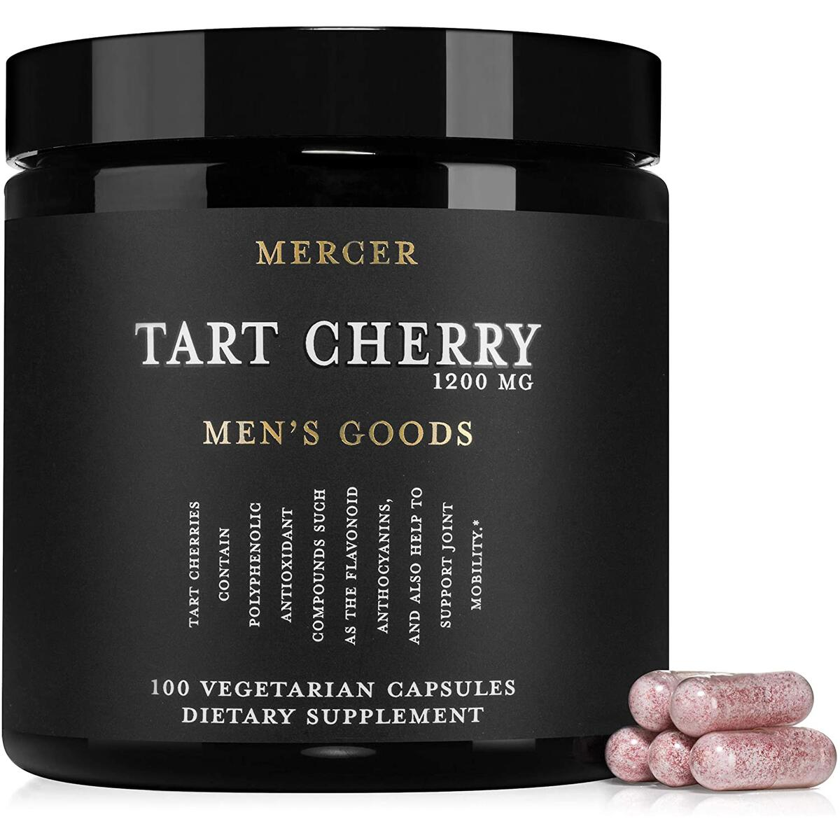Mercer Tart Cherry 1200 MG, Tart Cherry Extract Capsules, 100 Vegetarian Capsules