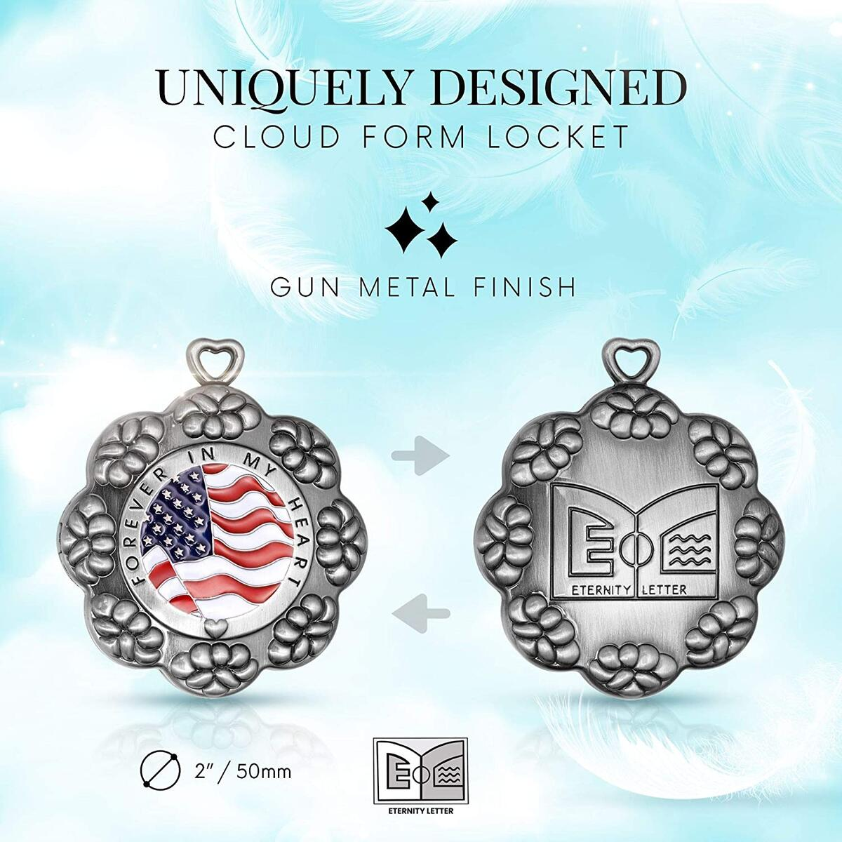 Eternity Letter Presents 2 in 1 Cloud Letter Locket - Gun Metal Finish Locket Keychain That Holds Letter - Vintage Locket Necklace for Women & Men - 1 Pack Includes Key Ring, & 2 Envelopes