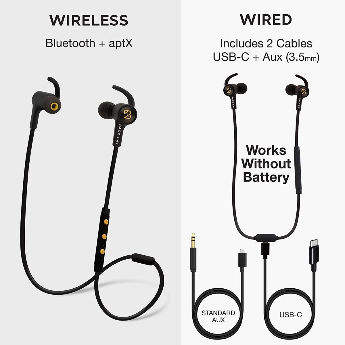 3-in-1 Wireless+Wired Earbuds [Bluetooth + AUX + USB-C Audio] by Back Bay Audio (Black)