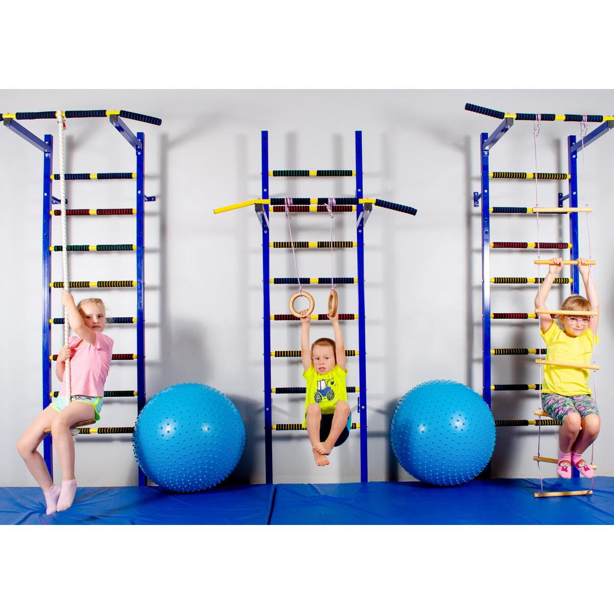 Kids GYM play set include swing, climbing ladder and gymnastics rings