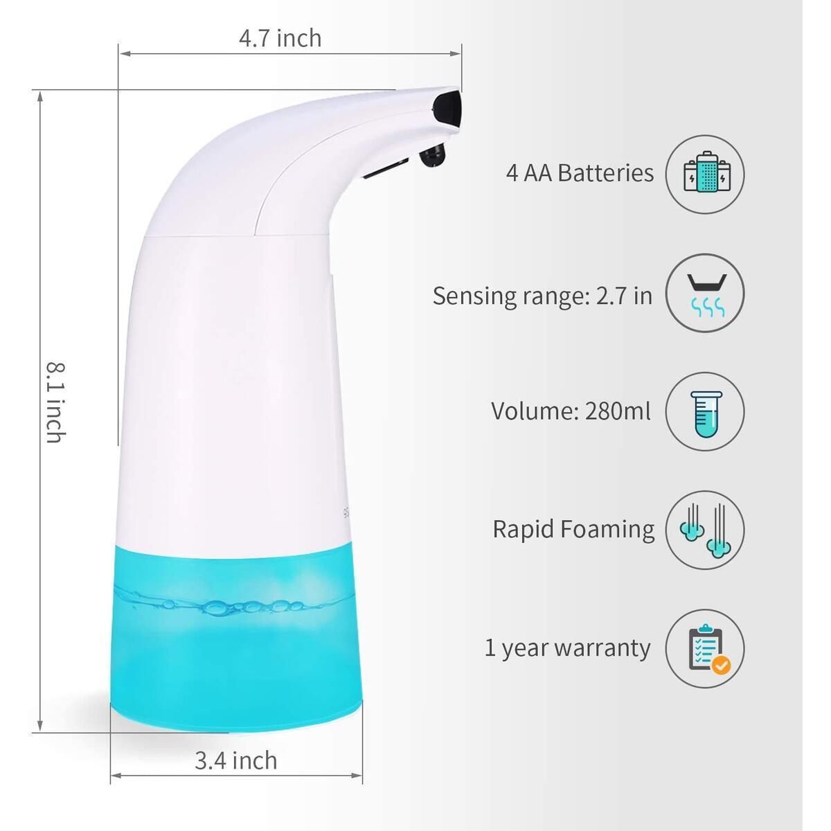Greenize Soap Dispenser Touchless 280ml, Automatic Foaming Soap Dispenser Touchless Battery Operated, Countertop Hands Free Soap Dispenser Foaming Soap Pump for Bathroom Kitchen Kindergarten Hospital