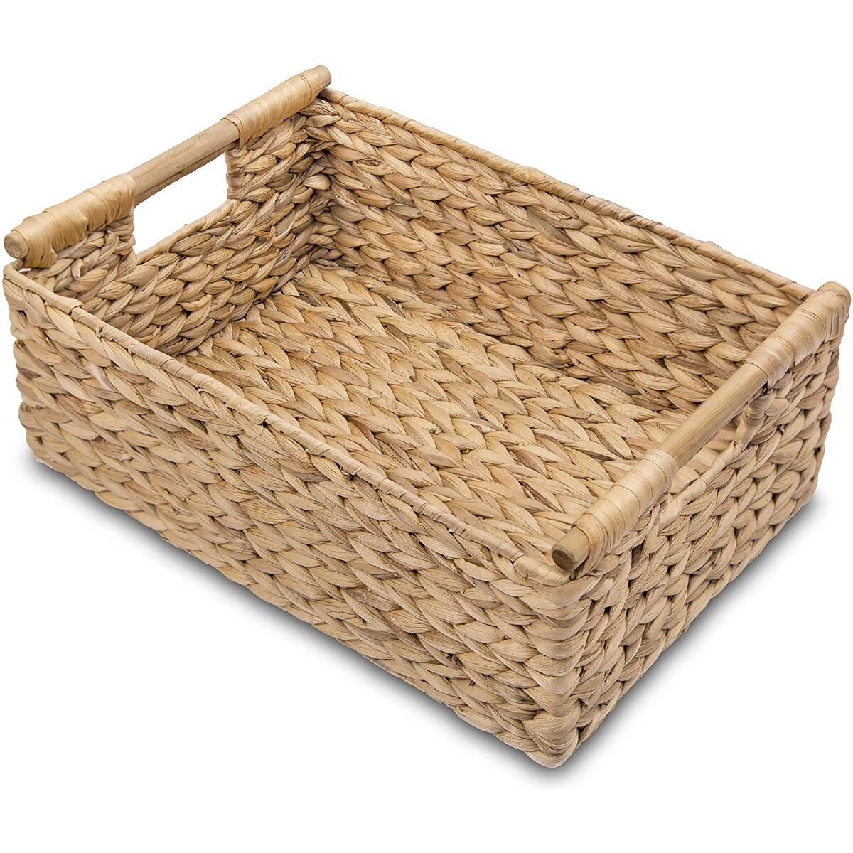 LARGE Wicker Basket with Wooden Handles for Shelves, Water Hyacinth Storage Basket, Natural Baskets for Organizing, Wicker Baskets for Storage 15 x 10.6 x 5.5 inches