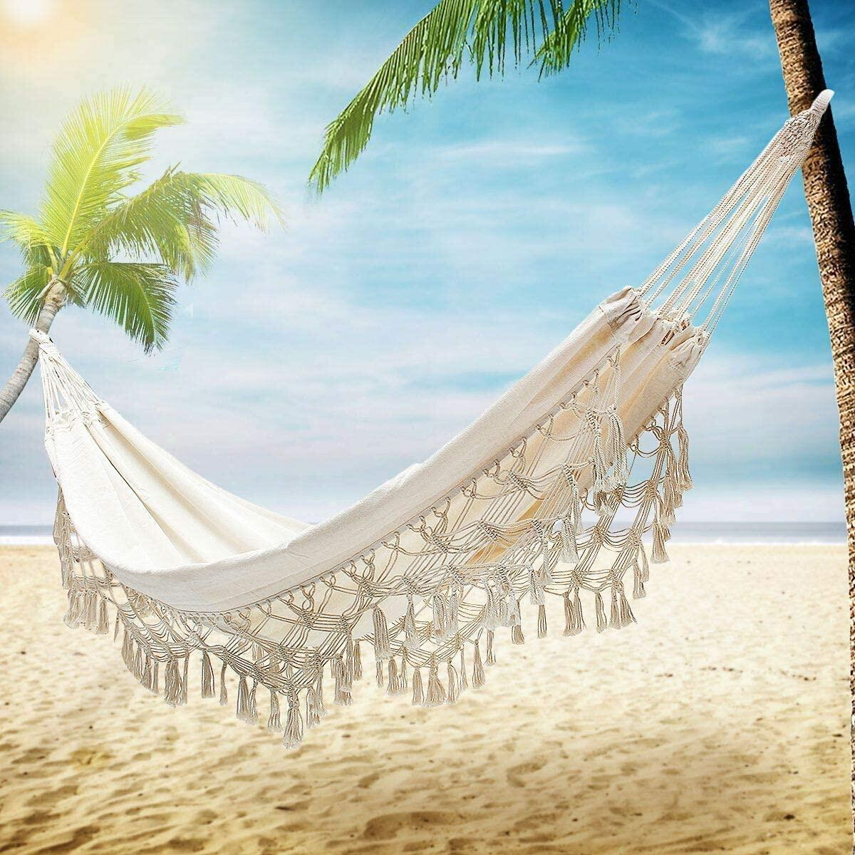 Boho Large Brazilian Fringed Macrame Double Deluxe Hammock Swing Bed with Carry Bag for Patio, Porch, Bedroom, Yard, Beach, Indoor, Outdoor & Wedding Party Decor, Beige