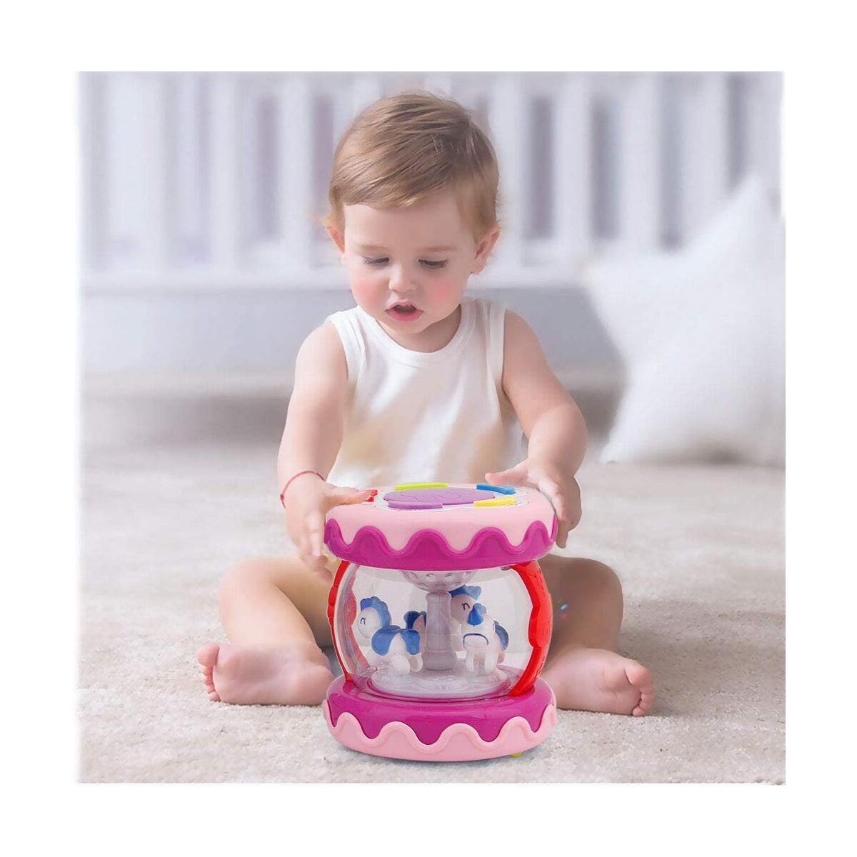 WISHTIME Baby Musical Mini Drum Toy - Educational Learning Toy for Baby Electronic Drum Instruments with Lights for 1 2 3 Year Old Toddlers Kids Boys and Girls(Pink)